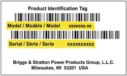 Snapper Model Number Tag